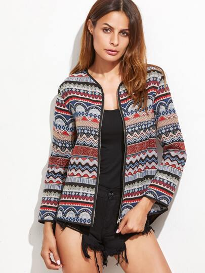Multicolor Tribal Pattern Zipper Up Jacket