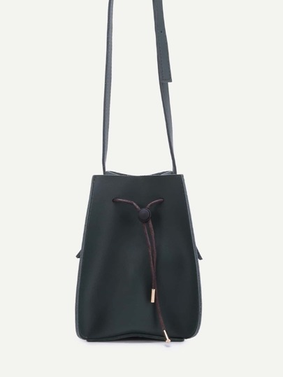 Black Faux Leather Drawstring Bucket Bag