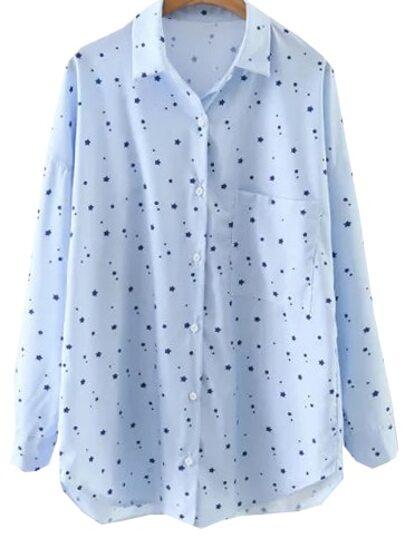 Blue Star Print Dip Hem Blouse