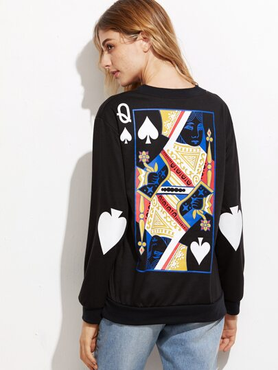 Black The Queen Of Spades Print Sweatshirt