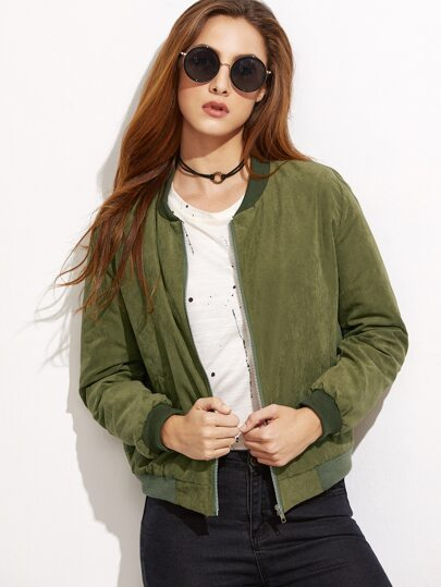 Army Green Ribbed Trim Bomber Jacket