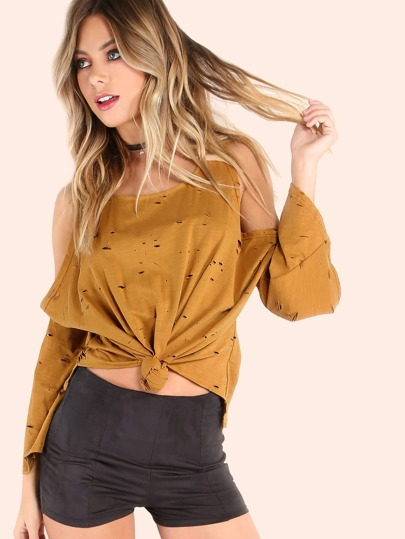 Bell Sleeved Cold Shoulder Knotted Distressed Top CAMEL