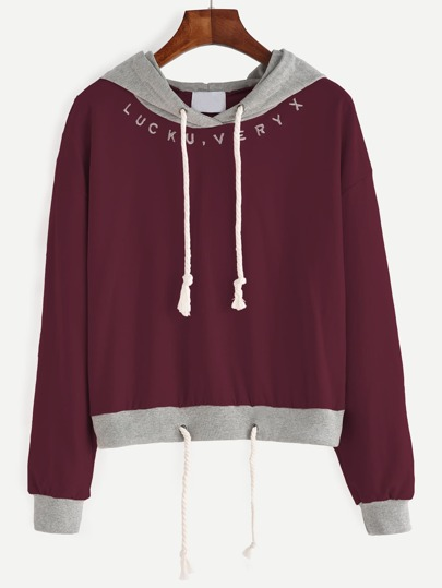 Burgundy Contrast Hem Drawstring Hooded Sweatshirt