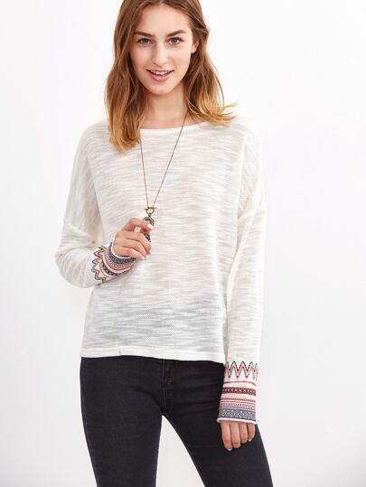 White Drop Shoulder Tribal Pattern Cuff Slub Sweater