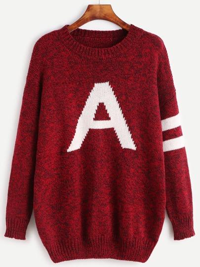Burgundy Letter Pattern Striped Trim Sweater
