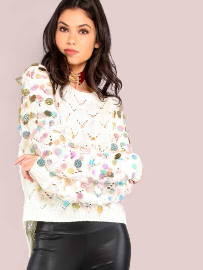 Sequin Disc Sleeve Sweater Knit Jumper IVORY