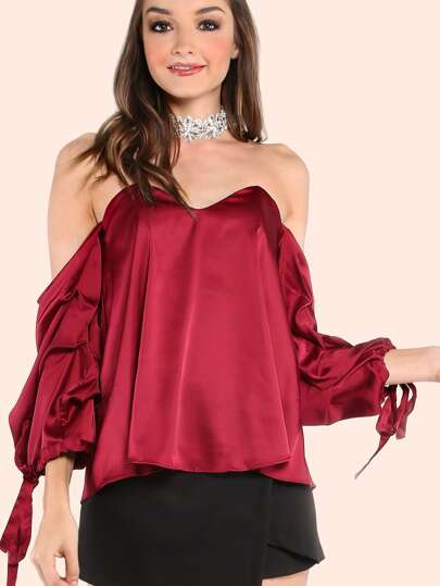 Open Shoulder Bustier Frill Sleeve Blouse WINE