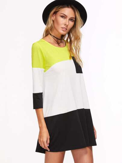 Color Block Cut And Sew Dress With Pocket