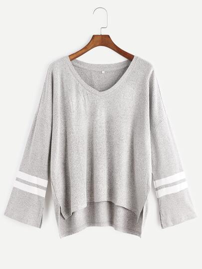 Heather Grey Drop Shoulder Striped Sleeve Ribbed T-shirt