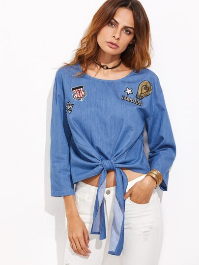 Chambray Top mit Paillette und Patch Detail -blau