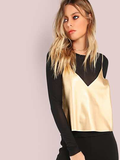Faux Leather PU Cami Crop Top GOLD