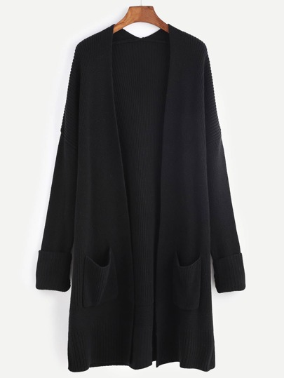 Black Collarless Drop Shoulder Pocket Front Sweater Coat
