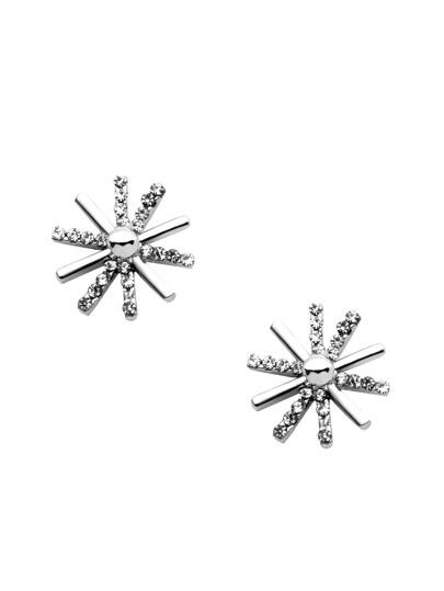 Silver Rhinestone Snowflake Shaped Stud Earrings