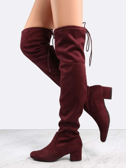 Faux Suede Block Heel Thigh Boots WINE