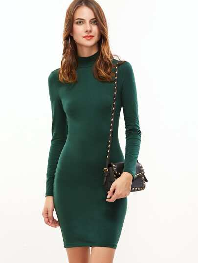 Green Mock Neck Long Sleeve Bodycon Dress