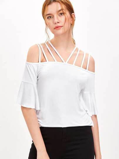 White Strappy Cold Shoulder Ruffle Sleeve T-shirt