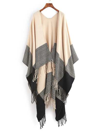 Бежевый контрастный длинный шарф шалью