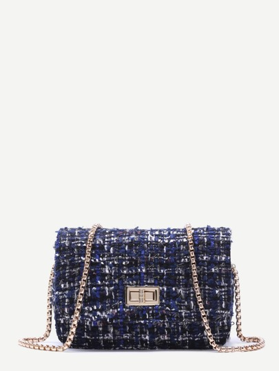 Bolso cuadrado de lana con correa de cadena - azul real