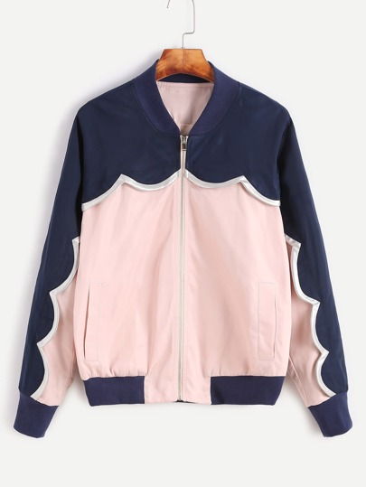Contrast Scallop Trim Zip Up Bomber Jacket