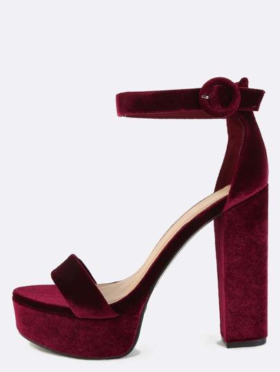 Velvet Platform Ankle Strap Heels BURGUNDY