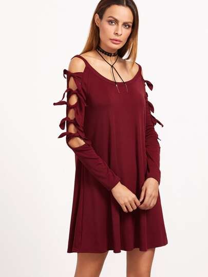 Burgundy Cutout Knotted Raglan Sleeve Swing Dress