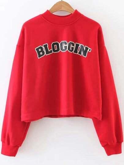 Sweatshirt Buchstaben Druck Umlegekragen-rot