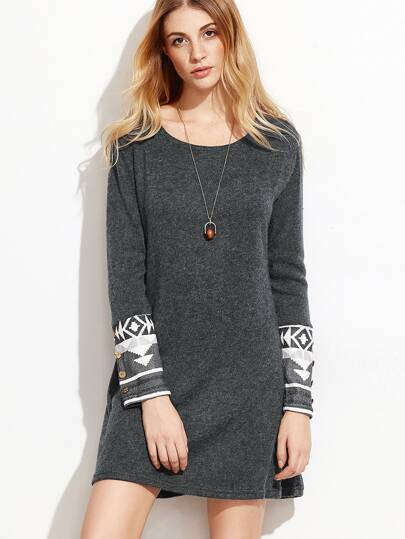 Dark Grey Contrast Cuff Geometric Print Dress