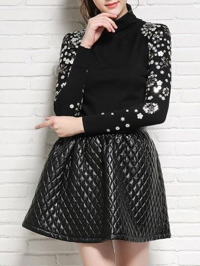 Black Collar Sequined Sweater