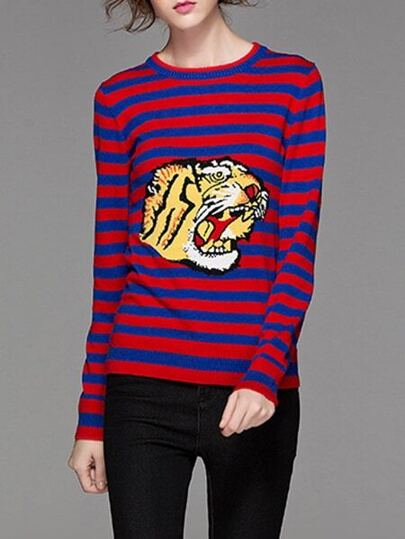 Blue Red Striped Tiger Embroidered Sweater