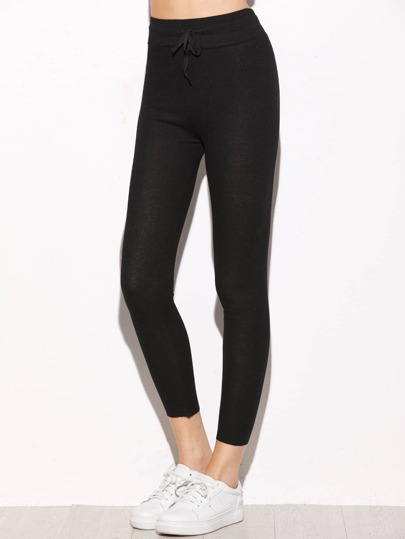 Black Drawstring Waist Ribbed Leggings