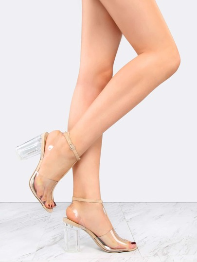 T-Strap Chunky Perspex Heels NATURAL