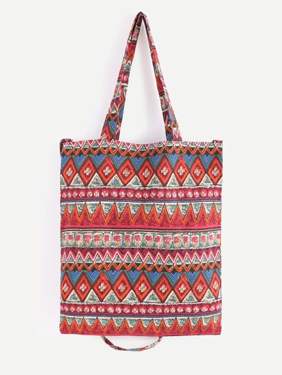 Red Tribal Print Double Layer Tote Bag With Convertible Strap