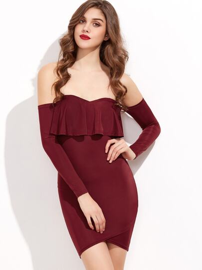 Burgundy Ruffle Trim Overlap Hem Off The Shoulder Bodycon Dress