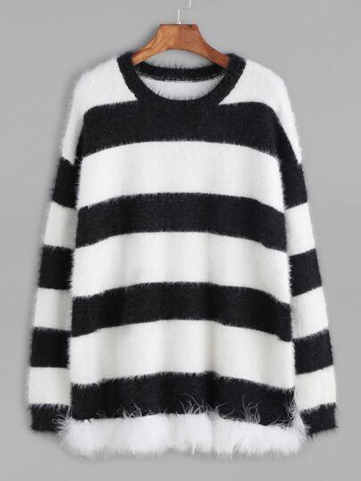 Pull à rayure - noir et blanc