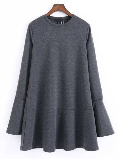 Dark Grey Split Bell Sleeve Drop Waist Dress