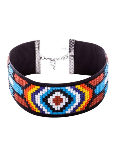 Multicolor Beaded Geometric Pattern Wide Choker Necklace