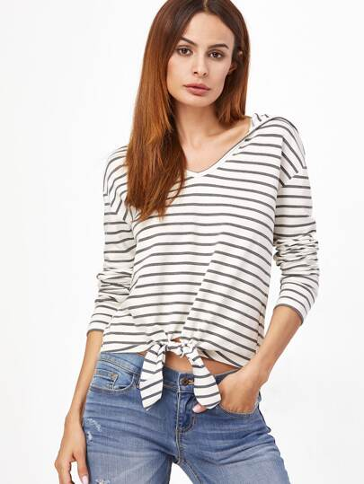 Striped Knot Front Hooded Tee