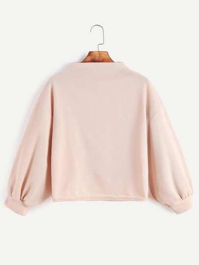 Apricot Funnel Neck Drop Shoulder Lantern Sleeve Sweatshirt