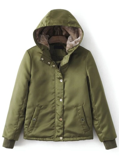 Army Green Hidden Zip Hooded Padded Jacket