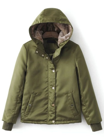Veste douillette zippé avec capuche cassé -vert d'armée