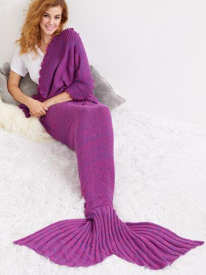Purple Crocheted Flounce Mermaid Tail Blanket