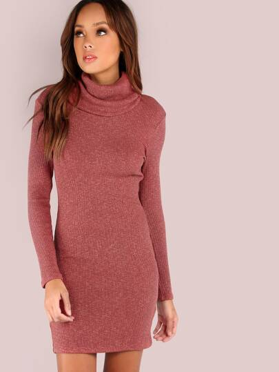 Long Sleeve Cowl Neck Rib Knit Dress MARSALA