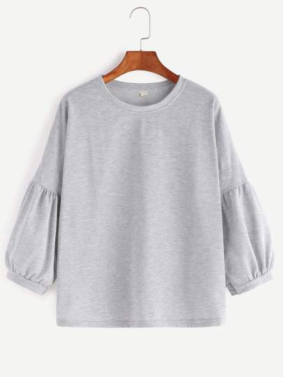 Grey Drop Shoulder Lantern Sleeve T-shirt