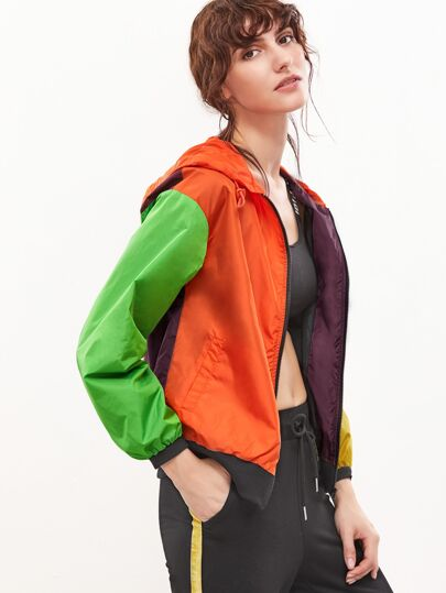 Color Block Drop Shoulder Zip Up Hooded Jacket
