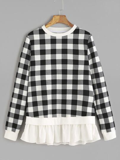 Black And White Checkered Contrast Ruffle Hem Sweatshirt