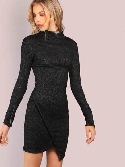Asymmetrical Jersey Knit Turtleneck Dress BLACK