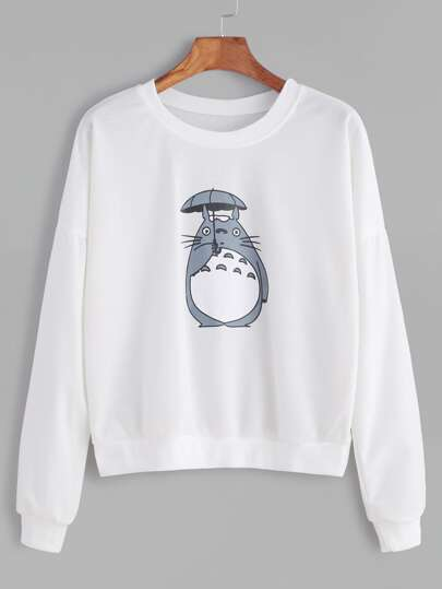 White Cartoon Print Drop Shoulder Sweatshirt