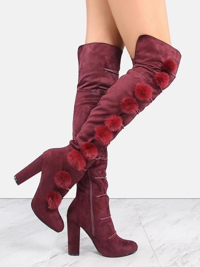 Chunky Heel Pom Pom Tall Boots BORDEAUX