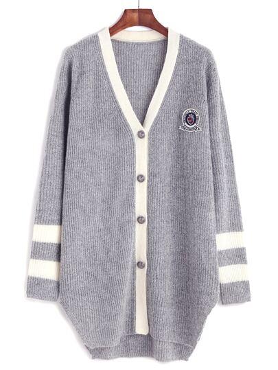 Grey Contrast Neckline Striped Sleeve Cardigan With Patch