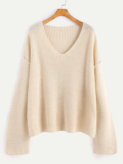 Apricot V Neck Drop Shoulder Slit Sweater